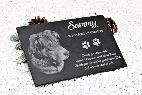 Schiefer Gedenktafel Gedenkstein mit Gravur / Fotogravur + 1 Motiv ca. 30x20 cm für Haustiere: Hund Katze Pferd mit Foto schönes Andenken an die Liebsten - kein Druck! Grabschmuck / Grabplatte mit Charm