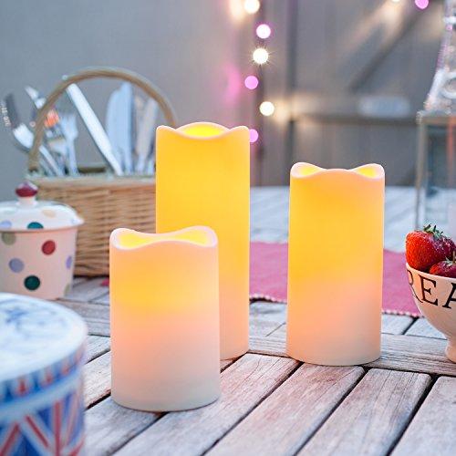 3er Set LED Kerzen für Außen Timer Lights4fun