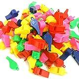 100 Stück Pfeifen, Trillerpfeifen, in 5 Farben, Kunststoff