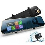 DuDuBell Rückspiegel Kamera Dashcam Autokamera mit RückfahrkameraFull HD 1080P Dual Lens 4,3' Touchscreen 170° Weitwinkel G-Sensor Loop-Aufnahme Parküberwachung Bewegungserkennung