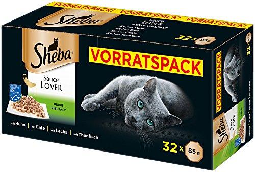 Sheba Katzenfutter Nassfutter, Sauce Lover Feine Vielfalt, 1er Pack (1 x 32 x 85 g)