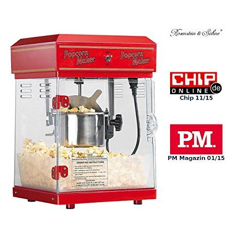 Rosenstein & Söhne Popcornmaschine: Profi-Retro-Popcorn-Maschine 'Cinema' mit Edelstahl-Topf im 50er-Stil (Profi Popcornmaschine)