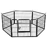 Yaheetech Welpenlaufstall 6- Elemente Freigehege Hunde Welpengitter 80x 60 cm Innen/Außenbereich