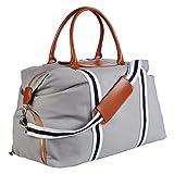 Saint Maniero Premium Reisetasche Weekender Sporttasche Schultertasche Dufflebag atmungsaktiv Fitnesstasche Vintage Tasche gross Reisegepäck Sportbag Freizeittasche Segeltuchtasche (grau)