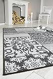 Kurzflorteppich Teppichläufer Orientteppich Vintage Patchwork Orientalisches Muster Used Look- Wohnzimmerteppich Schlafzimmer Flurläufer - Oeko Tex 100 pflegeleicht umkettelt - 80cm x 150cm grau