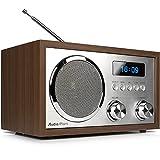 AudioAffairs DAB+Digitales Nostalgie-Radio   UKW-Retroradio mit Bluetooth   2 Alarmzeiten mit Radiowecker   AUX-IN   Kopfhörereingang   Walnuss – Nur erhältlich auf Amazon.de