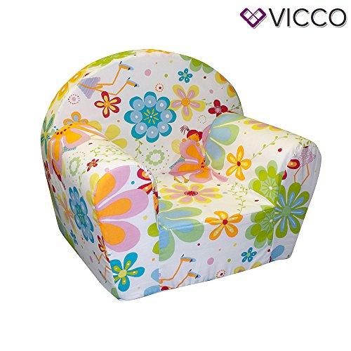 Vicco Kindersessel Kindersofa Minisofa Kindermöbel Sessel Sofa Schaumstoff (Blumen)