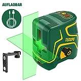 Kreuzlinienlaser Grün 30m TECCPO, USB Aufladung, Selbstnivellierenden und Pulsfunktion, Magnethalter, 120° Horizontal und Vertikal, 360° Drehbar, IP54, Schutztasche - TDLS19P