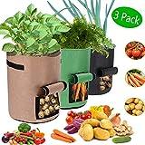 Pflanzen Tasche 3er Pack, Wasserdichte Kartoffel Pflanzsack, 10 Gallonen Atmungsaktives Nonwoven-Tuch mit Vecro-Fenster und Griff Wachstumstasche für Kartoffeltomate(Grün + Schwarz + Khaki)