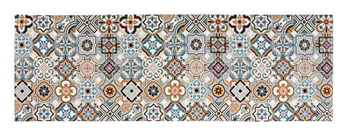 andiamo Vinyl Küchenläufer mit Buntem Design, pflegeleicht, strapazierfähig und schadstoffgeprüft, Farbe:Blau-Grau, Größe:50 x 150 cm