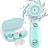 Elektronische Gesichtsbürste mit 5 Reinigungsaufsätzen, Sanfte Exfoliation und Tiefenreinigung Für alle Hauttypen geeignet - Wasserdicht IPX6