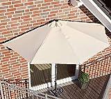 Cro Sonnenschirm halbrund, Balkonschirm Höhe 2,65 Farbe beige Wandschirm
