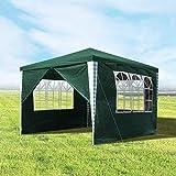 wolketon Pavillons 3x3m Gartenpavillon mit 4 Seitenteile Grün Partyzelt für Camping Hochzeit und Festival
