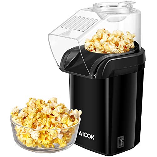 Popcornmaschine, Aicok Popcorn Maker, Heissluft Ohne Fett Fettfrei Ölfrei, Messlöffel, 1200W, Schwarz