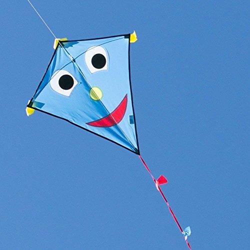 Kinderdrachen - Happy Eddy BLUE - Einleiner für Kinder ab 3 Jahren - Abmessung: 67x70cm - inkl. 80m Drachenschnur und Schleifenschwanz