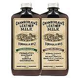 Chamberlain's Leather Milk - Straight Cleaner Nr. 2 & Furniture Treatment Nr. 5 - Set aus Reiniger & Conditioner für Ledermöbel - Naturbasis/ungiftig - Hergestellt in den USA - 2 Auftragepads - 0.18 L