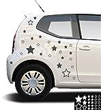 kleb-drauf - 25 Sterne / Schwarz - glänzend - Aufkleber zur Dekoration von Autos, Motorrädern und allen anderen glatten Oberflächen im Außenbereich; aus 19 Farben wählbar; in matt oder glänzend