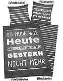 Herding Bettwäsche Young Collection Sprüche, Kopfkissenbezug 80x80cm, Bettbezug 135x200cm, Renforce