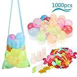 ZERHOK 1000Stk Wasserballon Set Bunte Wasserbomben Selbstschliessend mit Beutel Wasser Spielzeug Garten für Sommer Pool Hochzeit Geburtstag Hawaii Party (Gummibänder Füllen Instrument )