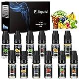 E Liquids,12 X 10mL E-Liquid für E-Zigarette ohne Nikotin VG50/PG50,E-Shisha Elektrische Zigarette,E Liquids für E Zigaretten/Elektrische Zigarette/E Shisha