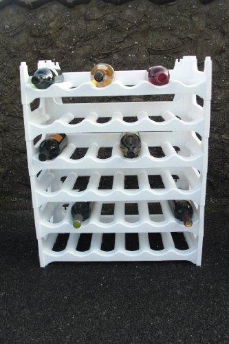 Weinregal Weiß für 36 Flaschen Flaschenregal Wein Wasser Regal Flaschenständer