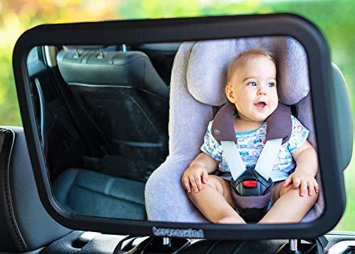 HerzensKind Rücksitzspiegel für Babys, großer Babyspiegel (30cmx19cm) mit edlem Soft-Touch Finish, bruchsicher und kinderleicht zu montieren