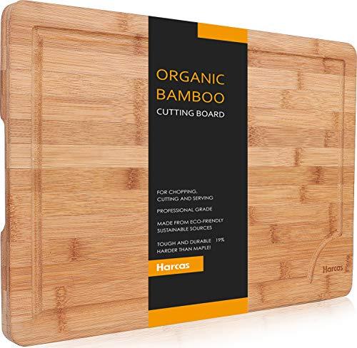 Premium Organic Bambus Schneidebrett von Harcas. Extra große Schneidebrett 44,5 cm x 30 cm x 2 cm. Am besten für Fleisch, Gemüse und Käse. Professional Grade für Stärke und Haltbarkeit. Tropf Groove