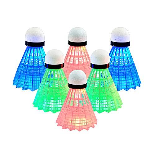 Senston LED Federball, Buntes Dunkles Nachtglühen Federball-Federballkugel aus Nylon/Gans für Badminton-Aktivitäten Beleuchtung für Outdoor-Sport