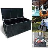 Froadp 360L Poly Rattan Auflagenbox mit Wasserdicht Gefütterte Garten Aufbewahrungsbox mit Gasdruckfedern für Garten Wohnzimmer Aufbewahrung Bank Tragfähigkeit 150KG (115x55x57cm, Anthrazit)