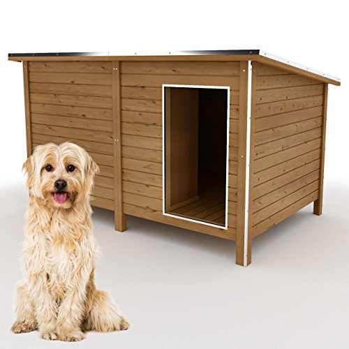 Happypet Hundehütte DK150-2 wetterfest, isoliert mit Windfang aus Massivholz 150 x 95 x 95 cm