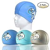 RETON Wasserdichte Kinder Badekappe Atmungsaktive Ohr Wrap Schutz Kinder Schwimmen Hut mit PU Beschichtung Cartoon-Muster (Himmelblau+See Blau+Silbergrau)