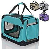 faltbare Hundebox Haustier Transportbox klappbare Autobox 60x42x44 cm gepolstert Katzen Henkel Tragetasche Grün