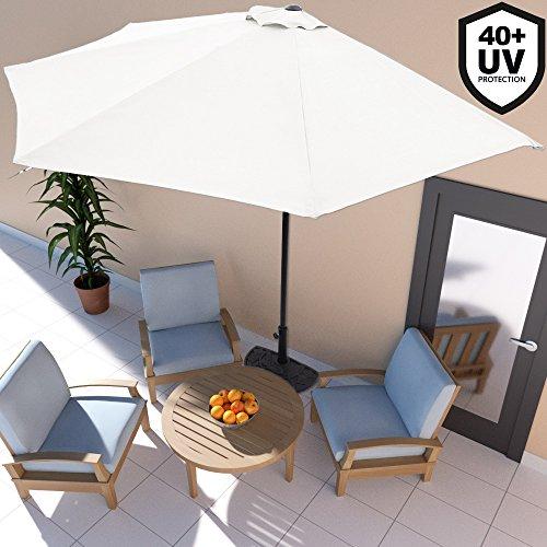 Deuba Sonnenschirm Ø 3m mit Kurbel halbrund UV-Schutz 40+ wasserabweisend creme- Terrassen Sonnenschirm Balkonsonnenschirm Terrassenschirm Balkonschirm