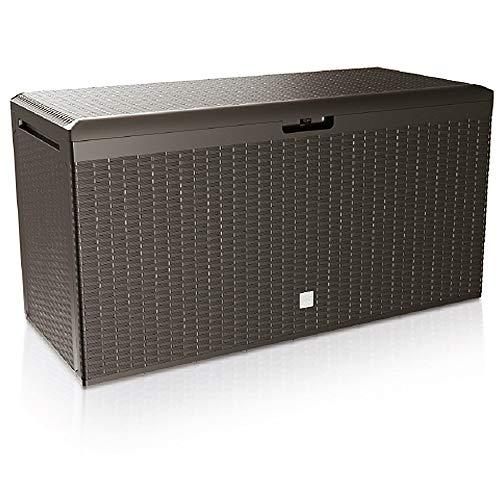 Deuba Auflagenbox Rato Plus | Rollen Griffe 100 kg belastbar Smart Click System | Truhe Gartenbox Kissenbox Braun