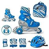 Kinder Inliner Inline Skates für Anfänger verstellbar Set Triskates mit Schutzset Helm Rucksack Rollschuhe Mädchen Jungen (S (30-33), blau)