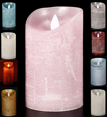 LED Echtwachskerze Kerze Farbauswahl Timer flackernde Wachskerze Kerzen Batterie, Farbe:Rosa, Größe:12.5 cm