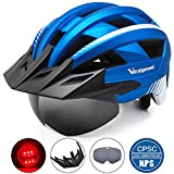 Victgoal Fahrradhelm MTB Mountainbike Helm mit abnehmbarem magnetischem Visier Abnehmbarer Sonnenschutzkappe und LED Rücklicht Radhelm Rennradhelm für Erwachsenen Herren Damen