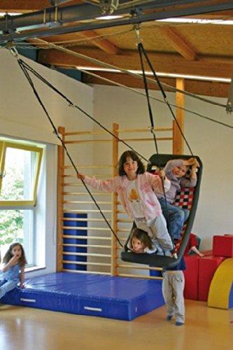 Große Mehrkindschaukel EDUCATION Farbe wählbar für 4 Kinder, 136 x 66 cm (weiß/rot)