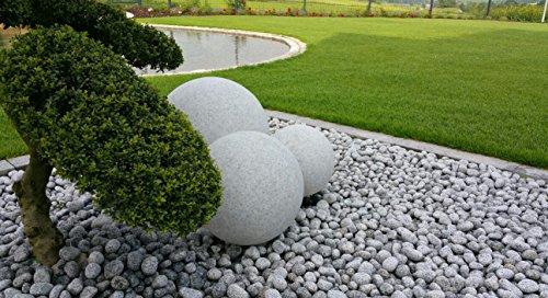 3er Set Gartenkugeln 30/40/50 cm Farbe: Granit-Optik mit jeweils 5m Outdoorkabel IP44 E27-Fassung TG72xx