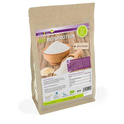 Bio Reisprotein 1 kg im Zippbeutel - 84% Protein - Eiweiss - Glutenfrei - 1er Pack (1000g) - Premium Qualität