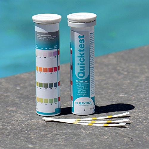 BAYROL Quick Test - 50 x Pool Teststreifen für pH Wert/Chlor/Alkalinität/Algizid