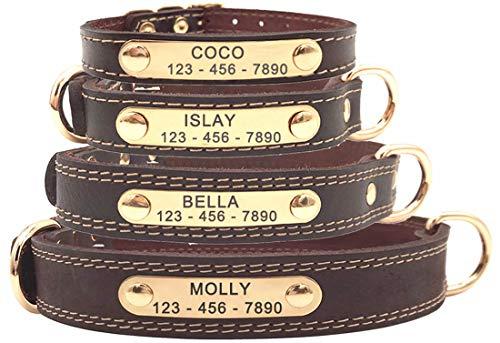 SLZZ Personalisiertes Hundehalsband aus Leder, mit graviertem Namensschild, weiche Haptik, strapazierfähiges Echtleder, verstellbar, perfekt für Männliche weibliche kleine mittelgroße Hunde
