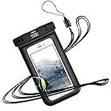 YOSH wasserdichte Handyhülle Tasche Beutel für IPhone X 8 7 6 6s Plus schneegeschützt Tauchen Unterwasser Fotografieren Samsung S6 S7 S8 Note Huawei HTC, Handy trageband, bis zu 6 ZollLEBENSLANGE GARANTIE(schwarz)