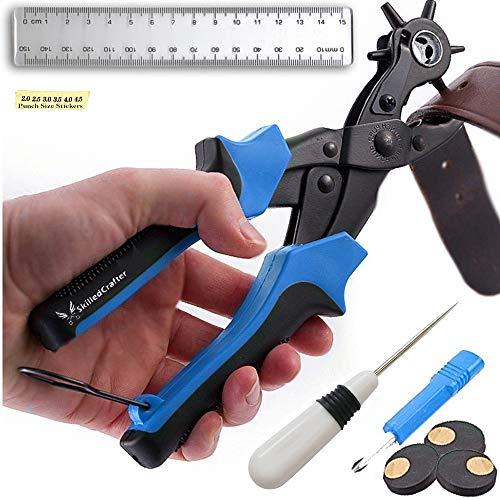 Skilled Crafter Lochzange für Leder. Stanzt ganz einfach perfekte runde Löcher. Professioneller bester Revolverlochzange für Gürtel, Sattel, Uhrenband, Schuh, Stoff, Papier usw. + 2 Jahre Garantie