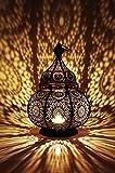 Orientalische Laterne aus Metall Ziva 30cm | orientalisches Windlicht schwarz | Marokkanische Metalllaterne für draußen als Gartenlaterne, oder Innen als Tischlaterne | Marokkanisches Gartenwindlicht hängend oder zum hinstellen