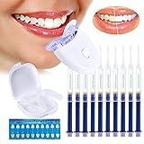 Zahnaufhellung Gel Ohne Peroxid Teeth Whitening Kit,Gegen Gelbe Zähne,Rauchflecken,Schwarze Zähne(1x LED-Beschleunigungslicht,1x Mundschiene,10 x Gel )