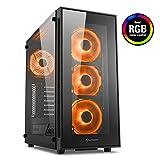 Sharkoon TG5 RGB, PC-Gehäuse (mit Seitenfenster und Frontblende aus gehärtetem Glas, 2x USB 3.0, 2x USB 2.0, 4x 120 mm RGB-LED-Lüfter)