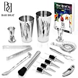 Premium 14 Piece Bar Set Cocktail Drink Shaker Kit by Bar Brat  / Free 110 Cocktail Recipes (Ebook) Included / Make Any Drink With This Bartender Kit