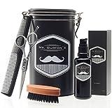 Mr. Burton´s Bartpflege Set aus Deutschland -inklusive Bartöl, Bartbürste, Bartschere und Kamm - als Geschenk, oder Geburtstagsgeschenk für Männer und Bartträger (CLASSIC)