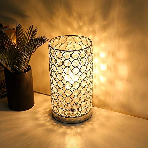 Albrillo Desgin Kristall Tischlampe, Klassische Dekorative Nachttischlampe mit E27 Fassung für Wohnzimmer, Schlafzimmer, Esszimmer